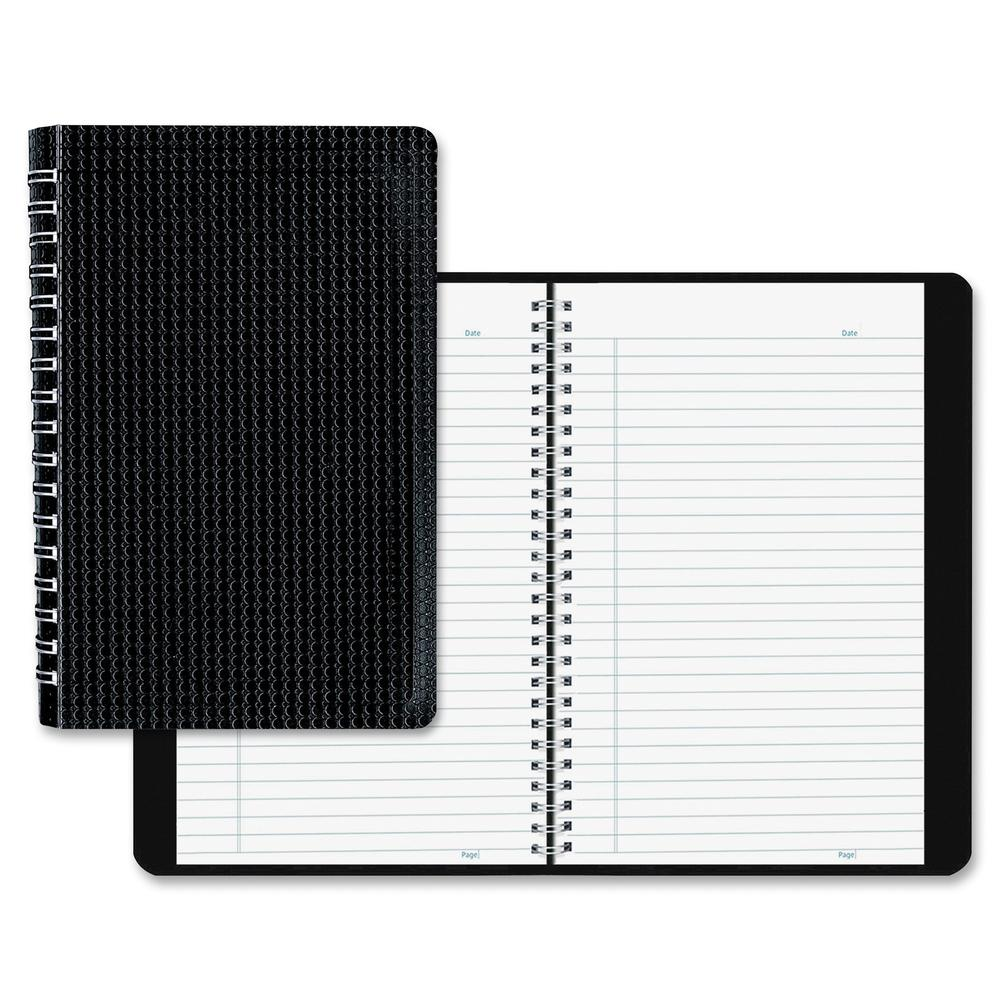 """Blueline Duraflex Notebook - 160 Sheets - Twin Wirebound - Ruled - 9 1/2"""" x 6"""" - Black Cover Textured - Poly Cover - Flexible Cover, Micro Perforated, Durable Cover - Recycled - 1Each. Picture 2"""