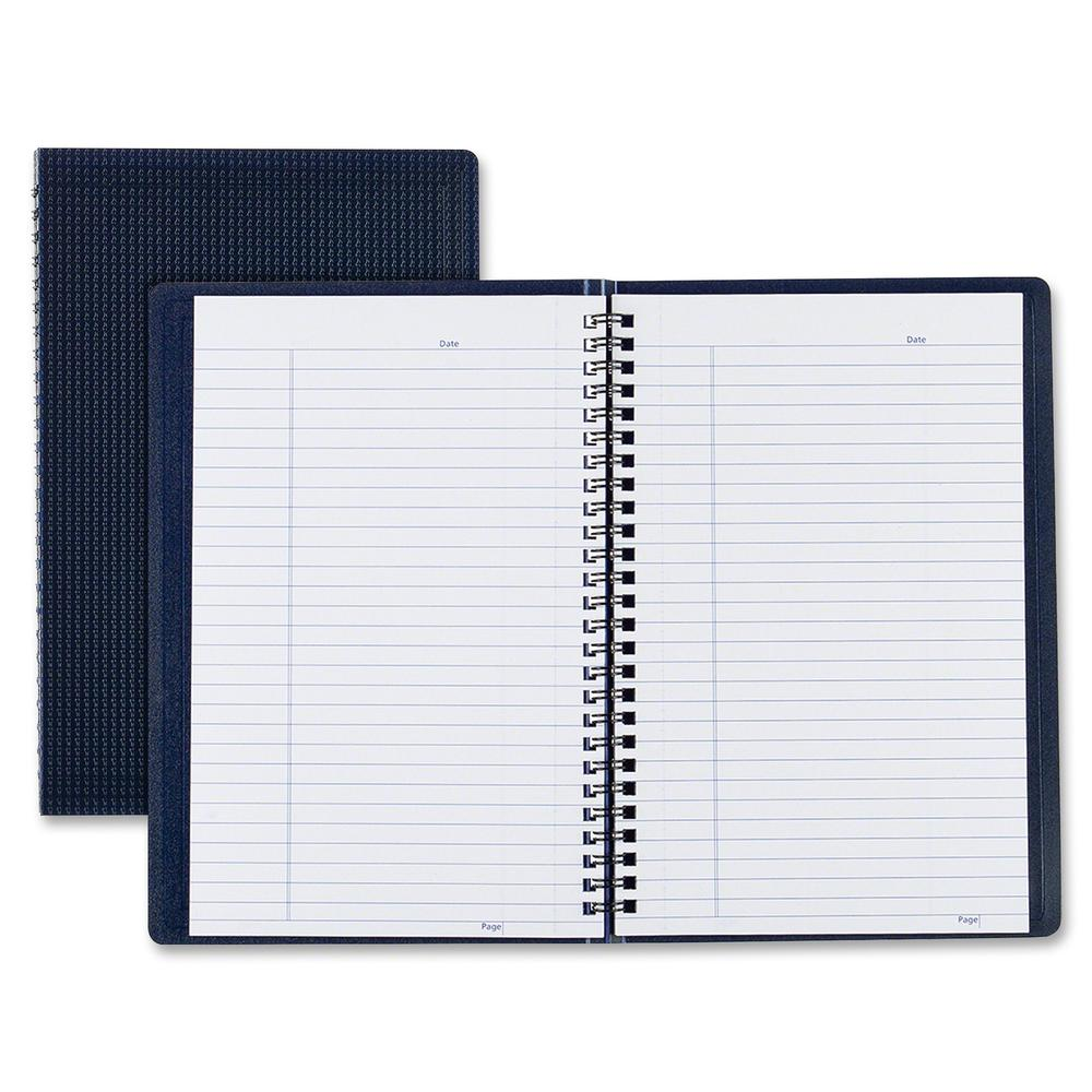 """Blueline Duraflex Notebook - 160 Sheets - Twin Wirebound - Ruled - 9 1/2"""" x 6"""" - Blue Cover Textured - Poly Cover - Micro Perforated, Flexible Cover, Wear Resistant, Tear Resistant - Recycled - 1Each. Picture 2"""