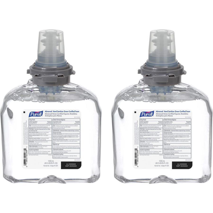 PURELL® Sanitizing Foam Refill - 40.6 fl oz (1200 mL) - Hand - Clear - Dye-free, Fragrance-free - 2 / Carton. Picture 3