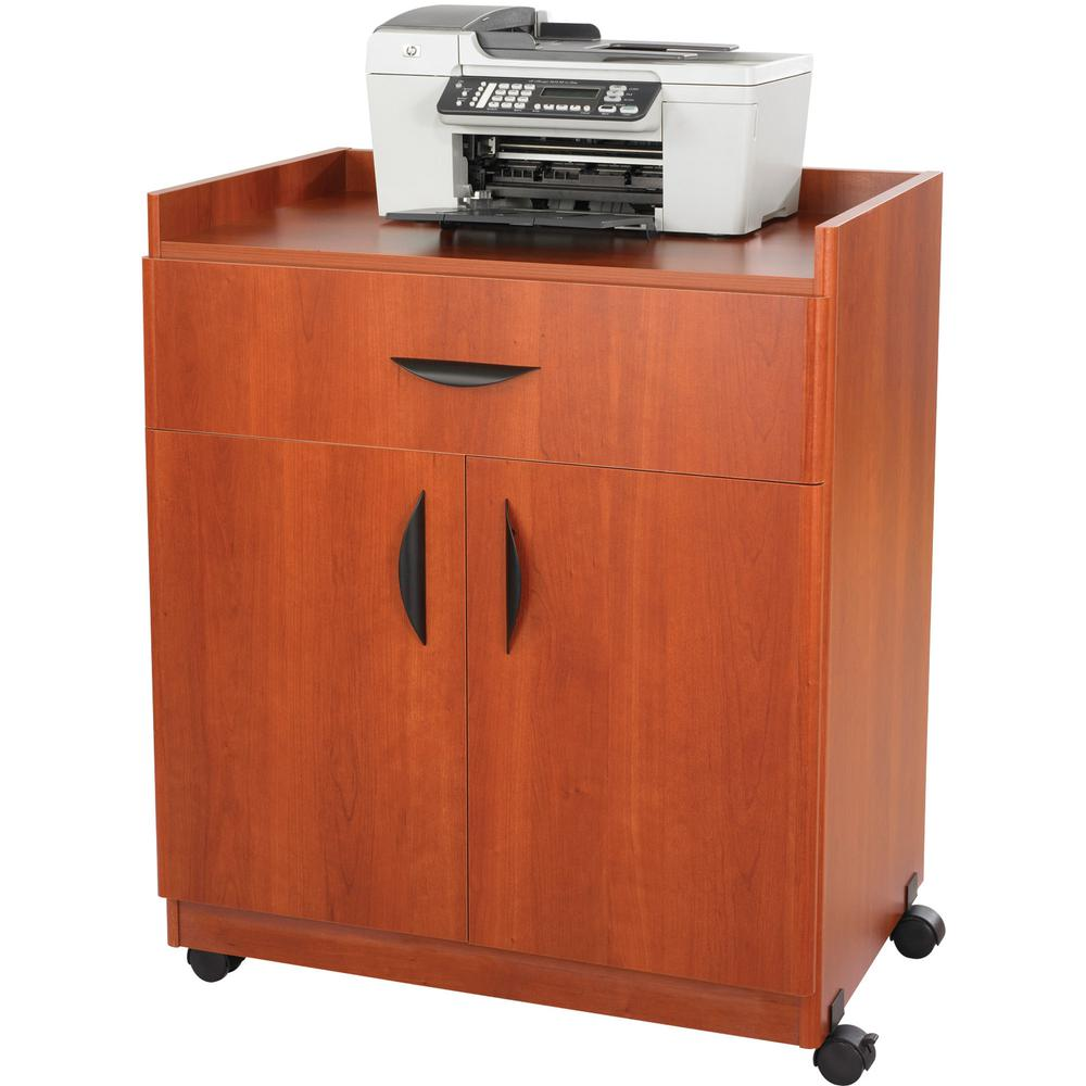"""Safco Deluxe Mobile Machine Stands - 200 lb Load Capacity - 36.3"""" Height x 30"""" Width x 20.5"""" Depth - Laminate - Particleboard, Wood - Cherry. Picture 6"""