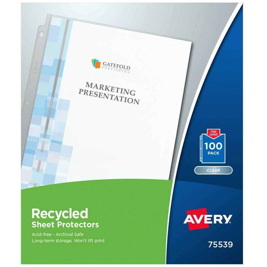 """Avery® Recycled Sheet Protectors - Acid-free, Archival-Safe, Top-Loading - 12"""" Height x 9.8"""" Width - For Letter 8 1/2"""" x 11"""" Sheet - 3 x Holes - Ring Binder - Top Loading - Clear - Polypropylene -. Picture 3"""