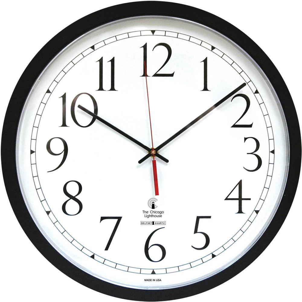 Chicago Lighthouse Self-set Clock - Analog - Quartz - White Main Dial - Black/Polystyrene Case - Contemporary Style. Picture 2