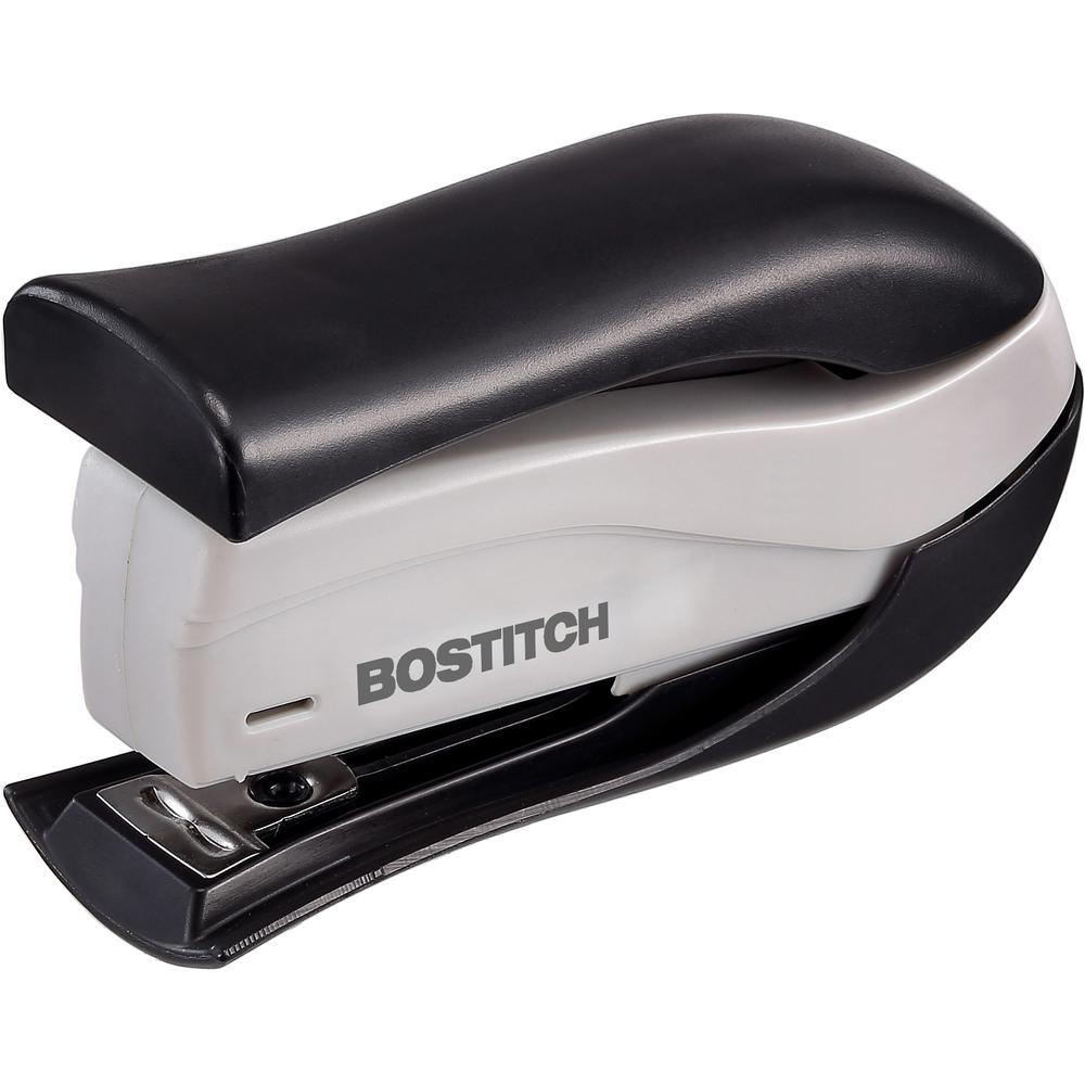 """Bostitch Spring-Powered 15 Handheld Compact Stapler, Black - 15 Sheets Capacity - 105 Staple Capacity - Half Strip - 1/4"""" Staple Size - Black, Gray. Picture 2"""