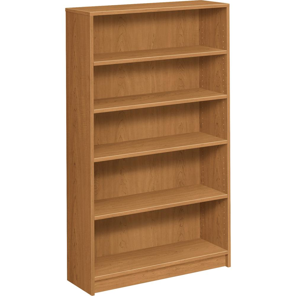 """HON 1870 Series 5-Shelf Bookcase, 36""""W - 60.1"""" Height x 36"""" Width x 11.5"""" Depth - Abrasion Resistant, Leveling Glide - 38% - Harvest - Particleboard - 1 Each. Picture 3"""
