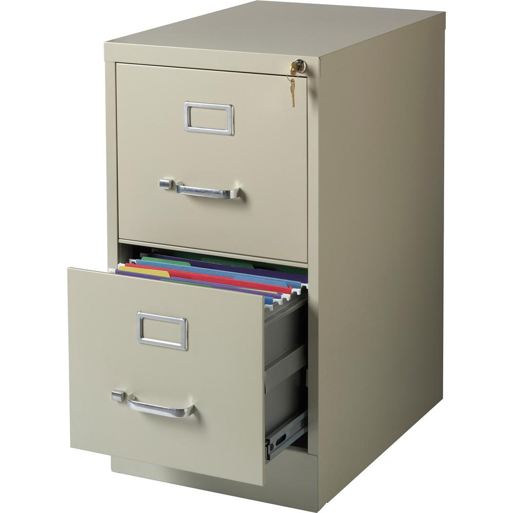"""Lorell Commercial-grade Vertical File - 15"""" x 22"""" x 28.4"""" - 2 x Drawer(s) for File - Letter - Lockable, Ball-bearing Suspension - Putty - Recycled"""
