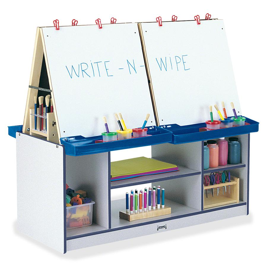 Jonti-Craft Rainbow Accents 4 Station Art Center - Freckled Gray, Navy Stand - Floor Standing - Assembly Required - 1 Each. Picture 3