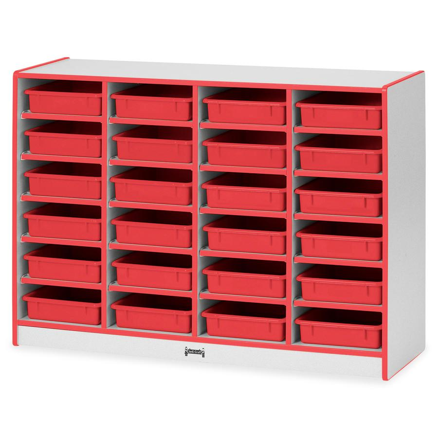 "Rainbow Accents Rainbow Mobile Paper-Tray Storage - 24 Compartment(s) - 35.5"" Height x 48"" Width x 15"" Depth - Red - Rubber - 1Each. Picture 3"
