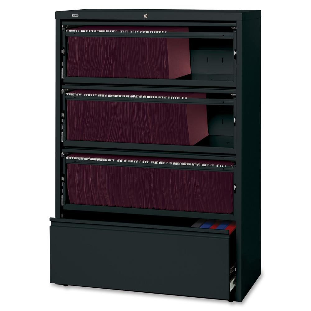 """Lorell Receding Lateral File with Roll Out Shelves - 4-Drawer - 36"""" x 18.6"""" x 52.5"""" - 4 x Drawer(s) for File - A4, Letter, Legal - Interlocking, Heavy Duty, Leveling Glide, Recessed Handle, Ball-beari. Picture 3"""