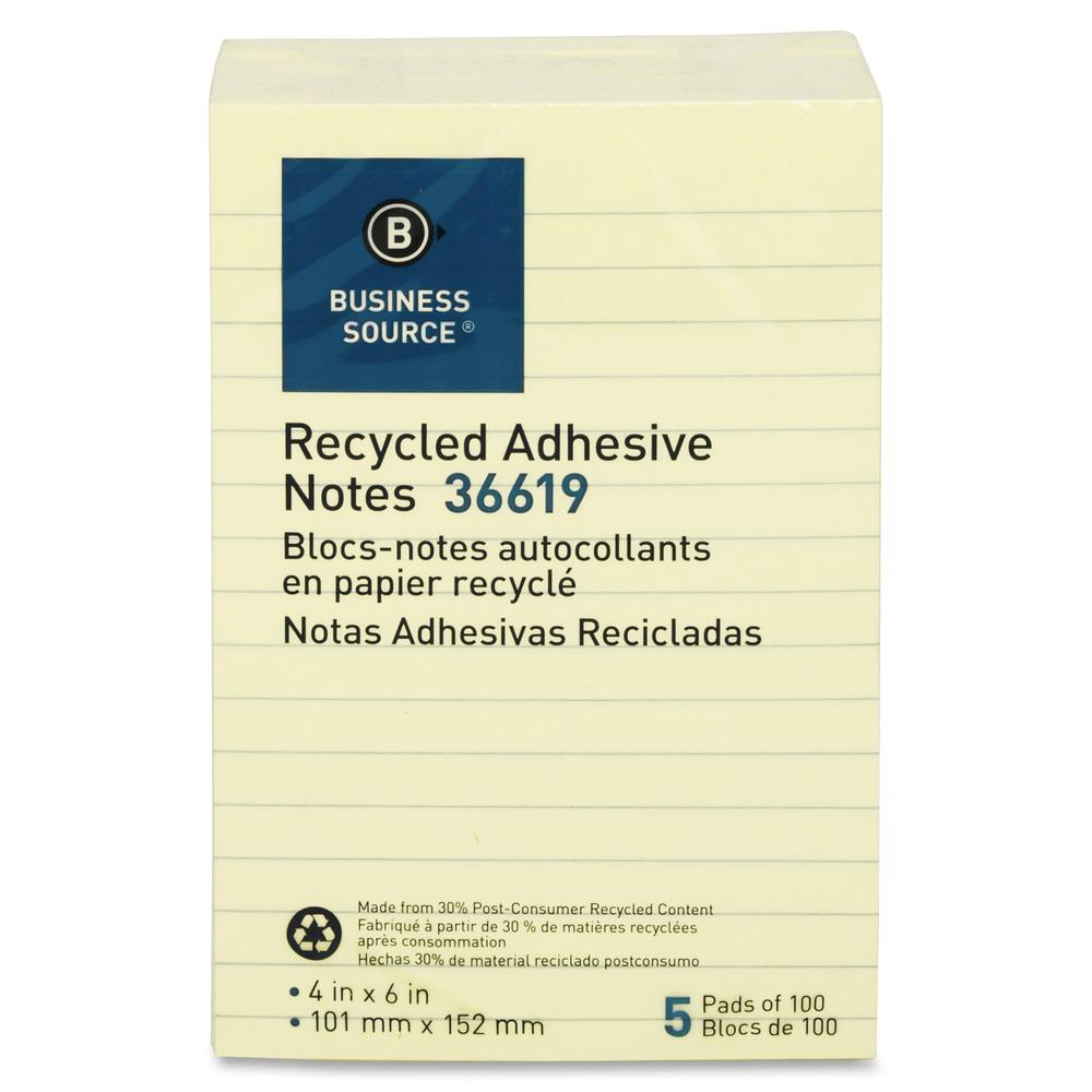 """Business Source Yellow Adhesive Notes - 4"""" x 6"""" - Rectangle - Ruled - Yellow - Self-adhesive, Removable - 5 / Pack. Picture 2"""