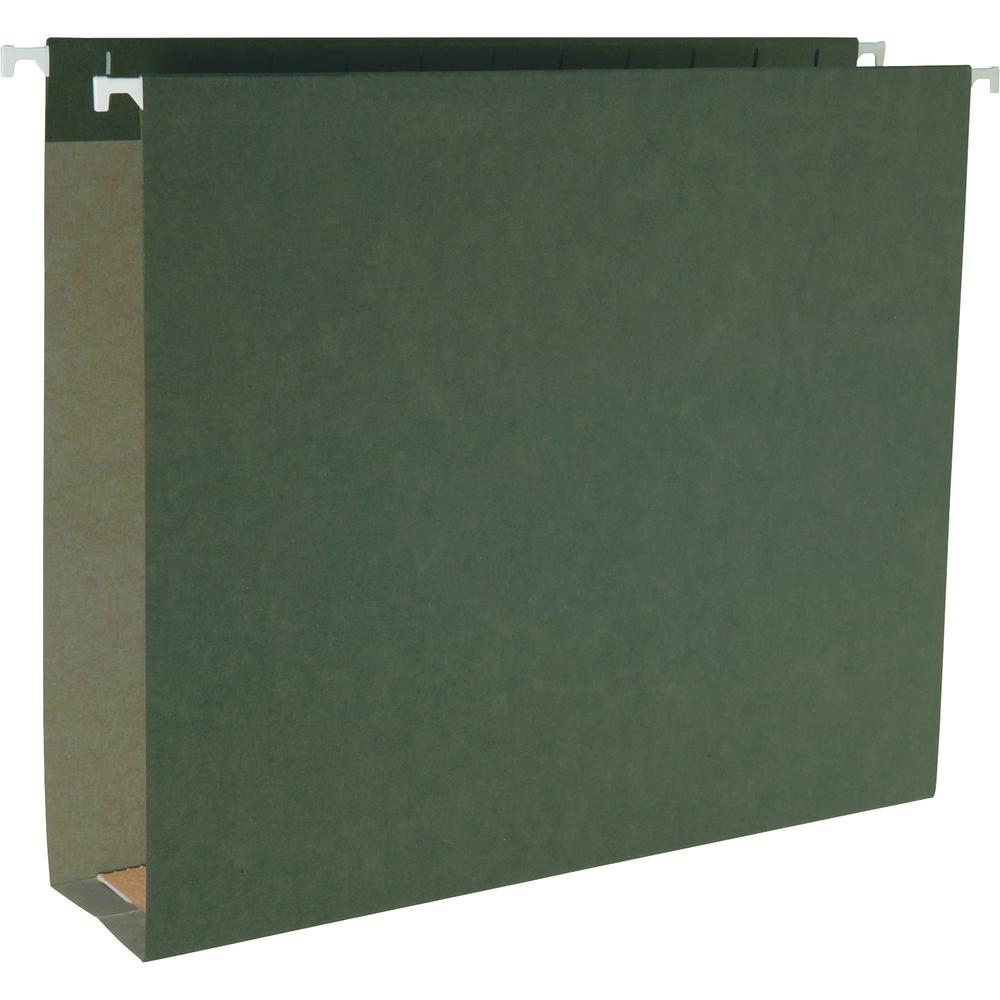 "Business Source 1/5 Cut Box Bottom Hanging Legal Folders - Legal - 8 1/2"" x 14"" Sheet Size - 2"" Expansion - 1/5 Tab Cut - Standard Green - Recycled - 25 / Box. Picture 2"