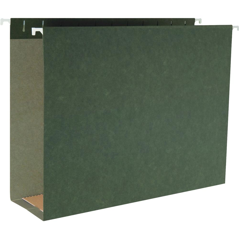 "Business Source 1/5 Cut Box Bottom Hanging Legal Folders - Legal - 8 1/2"" x 14"" Sheet Size - 3"" Expansion - 1/5 Tab Cut - Standard Green - Recycled - 25 / Box. Picture 2"