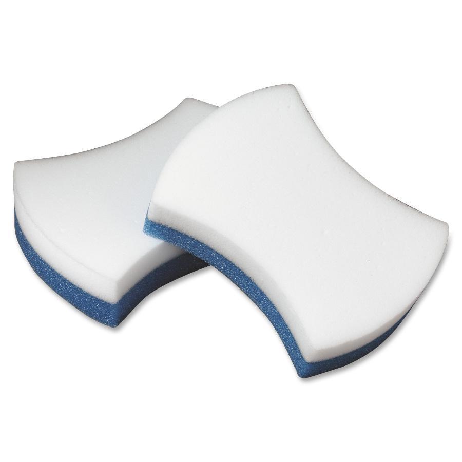 "Scotch-Brite Brite Easy Erase Sponge Pads - 1.3"" Height x 2.8"" Width x 4.5"" Depth - 4/Pack - Polymeric Foam, Urethane - Blue, White"