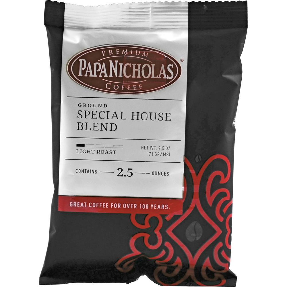 PapaNicholas Special House Blend Ground Coffee - Regular - Arabica, Special House Blend - Light/Mild - 2.5 oz - 18 / Carton