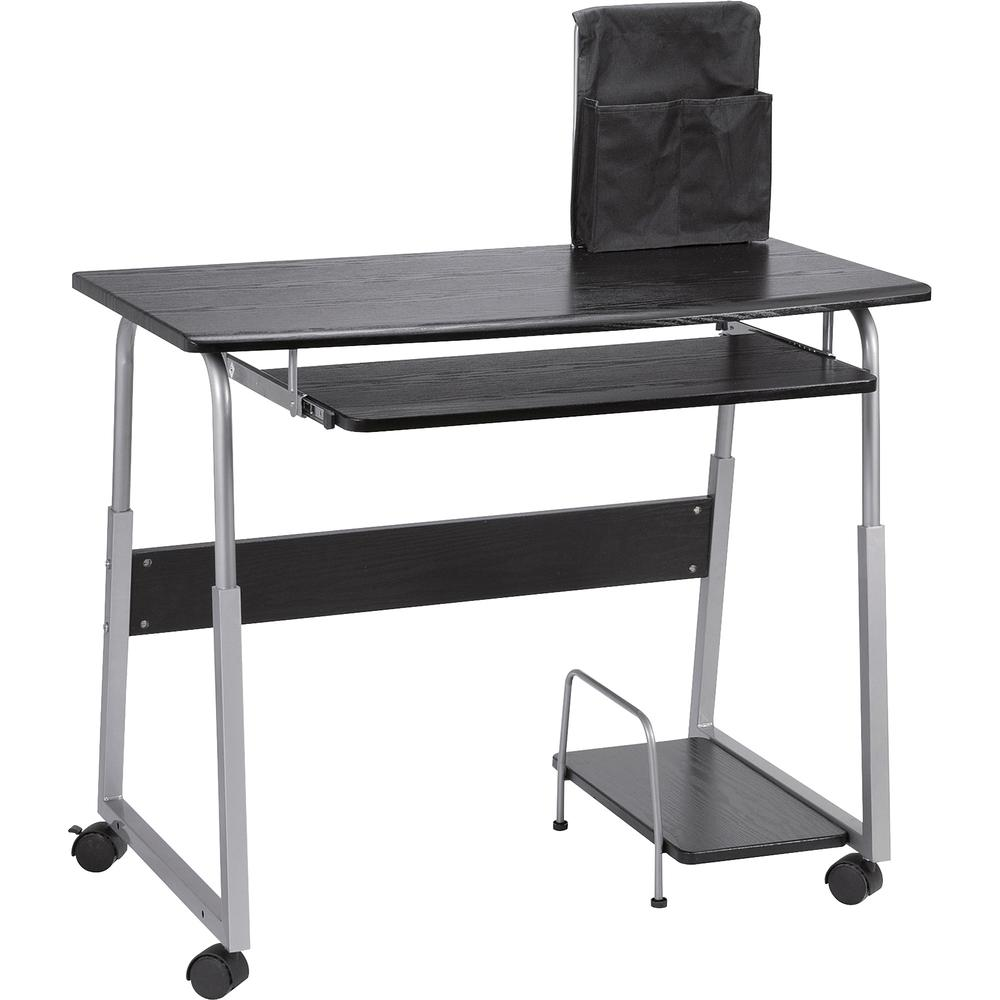 """Lorell Mobile Computer Desk - Rectangle Top - 41.50"""" Table Top Width x 20.50"""" Table Top Depth x 0.71"""" Table Top Thickness - 29"""" Height - Assembly Required - Black, Laminated, Silver"""