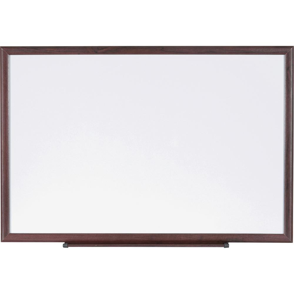 """Lorell Wood Frame Dry-Erase Marker Boards - 96"""" (8 ft) Width x 48"""" (4 ft) Height - White Melamine Surface - Brown Wood Frame - 1 Each"""