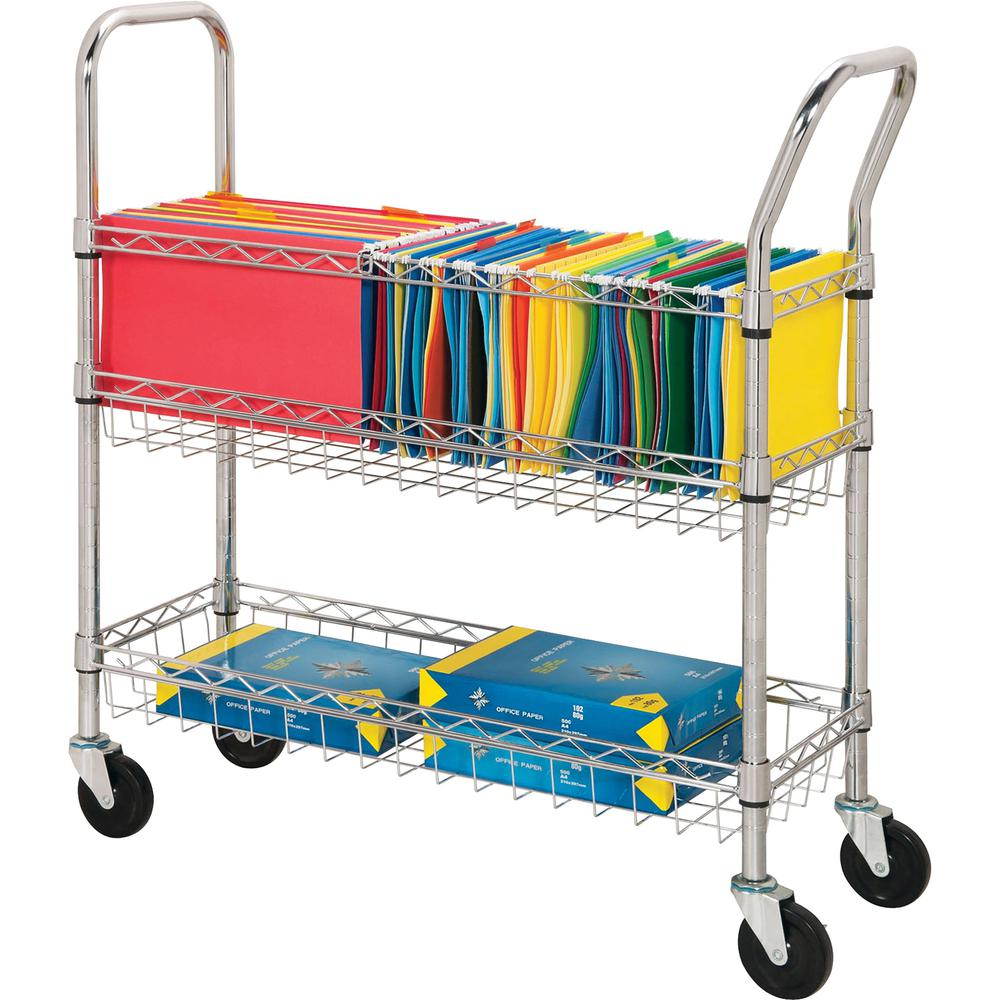 """Lorell Wire Mail Cart - 99.21 lb Capacity - 4 Casters - 4"""" Caster Size - Steel - 34.3"""" Width x 12.5"""" Depth x 40"""" Height - Chrome"""