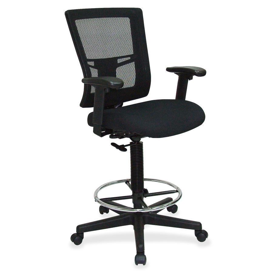 "Lorell Mesh Back Drafting Stool - Black Seat - Black Back - 5-star Base - Black - 20.10"" Seat Width x 18.50"" Seat Depth - 27"" Width x 25"" Depth x 48"" Height - 1 Each. Picture 3"
