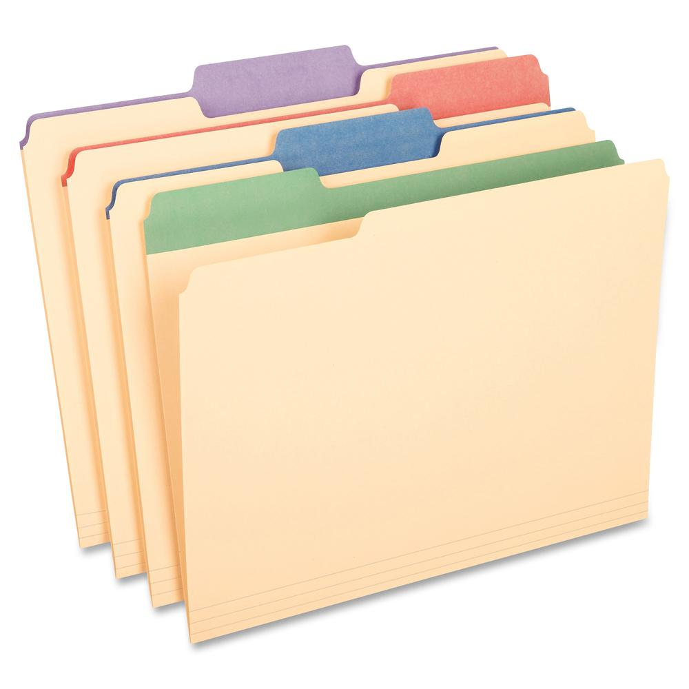 "Pendaflex Color Tab Manila File Folders - Letter - 8 1/2"" x 11"" Sheet Size - 225 Sheet Capacity - 3/4"" Expansion - 1/3 Tab Cut - 11 pt. Folder Thickness - Manila - Assorted - 1 lb - Recycled - 50 / Bo. Picture 2"