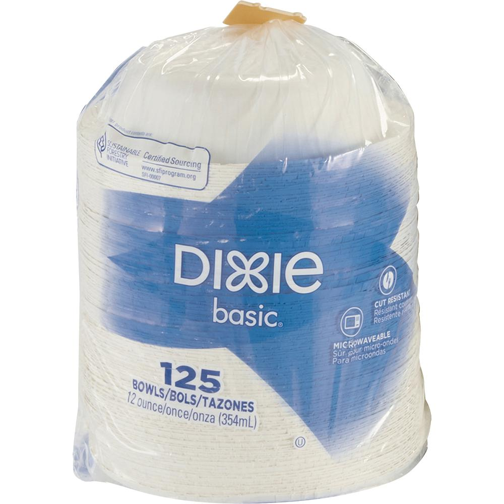 Dixie Basic® Lightweight Disposable Paper Bowls by GP Pro - 12 fl oz Bowl - Paper - Microwave Safe - White - 125 Piece(s) / Pack. Picture 3