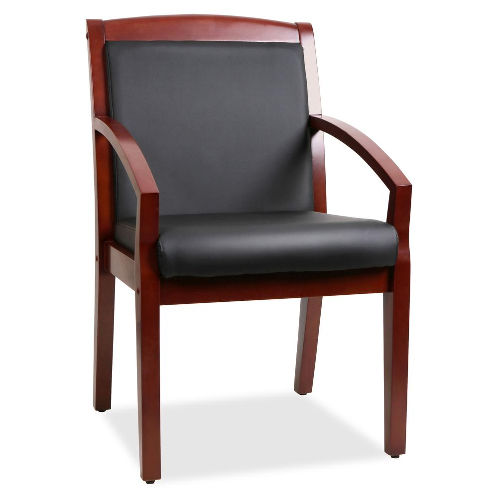 Lorell Sloping Arms Wood Guest Chair Bonded Leather