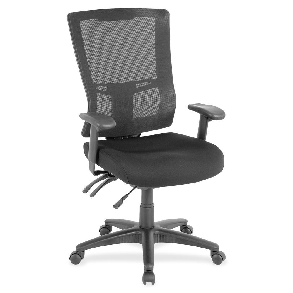 "Lorell High-Back Mesh Chair - Black Fabric Seat - Black Nylon Back - 5-star Base - Black - 20.90"" Seat Width x 21.30"" Seat Depth - 26"" Width x 27.5"" Depth x 46"" Height - 1 Each"