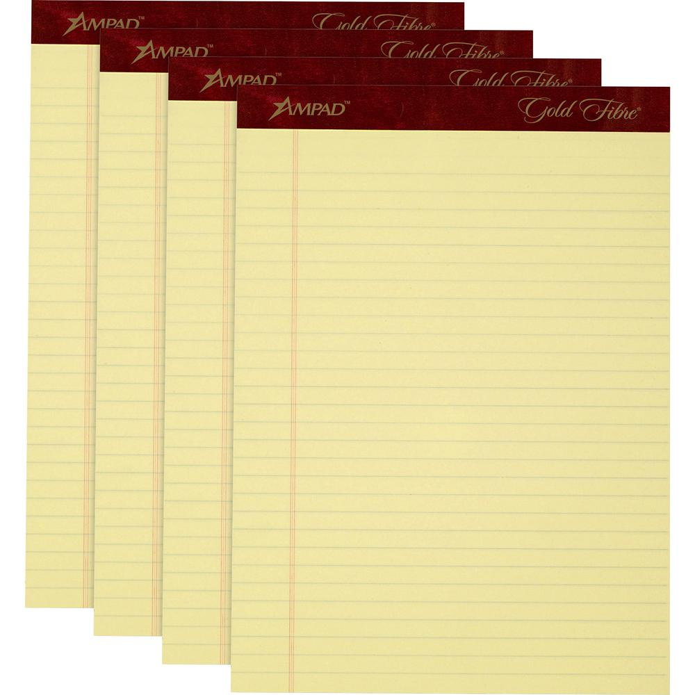 """TOPS Gold Fibre Premium Rule Writing Pads - Letter - 50 Sheets - Watermark - Stapled/Glued - 0.34"""" Ruled - 20 lb Basis Weight - 8 1/2"""" x 11"""" - Yellow Paper - Micro Perforated, Bleed-free, Chipboard Ba. Picture 3"""