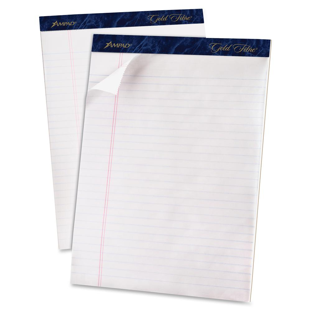 """TOPS Gold Fibre Ruled Perforated Writing Pads - Letter - 50 Sheets - Watermark - Stapled/Glued - 0.34"""" Ruled - 16 lb Basis Weight - 8 1/2"""" x 11"""" - Dark Blue Binder - Bleed-free, Micro Perforated, Chip. Picture 4"""