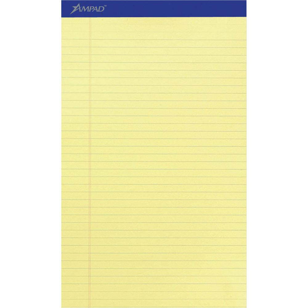 """Ampad Perforated Ruled Pads - Legal - 50 Sheets - Stapled - 0.34"""" Ruled - 15 lb Basis Weight - 8 1/2"""" x 14"""" - Canary Yellow Paper - Dark Blue Binder - Perforated, Sturdy Back, Chipboard Backing, Tear . Picture 2"""