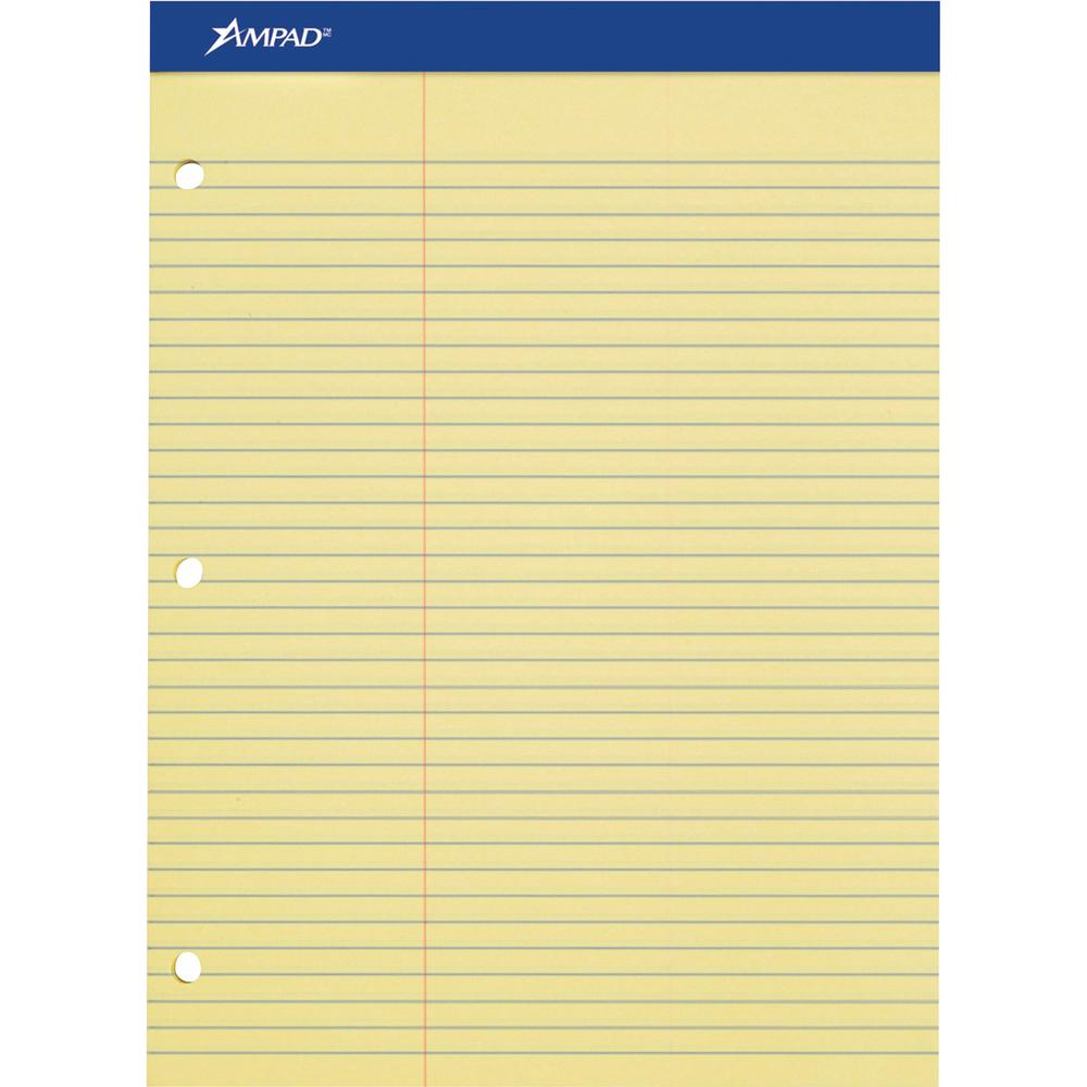 "Ampad Perforated 3 Hole Punched Ruled Double Sheet Pads - Letter - 100 Sheets - 0.34"" Ruled - 15 lb Basis Weight - 8 1/2"" x 11""8.5""11.8"" - Canary Yellow Paper - Micro Perforated, Stiff, Chipboard Back. Picture 2"