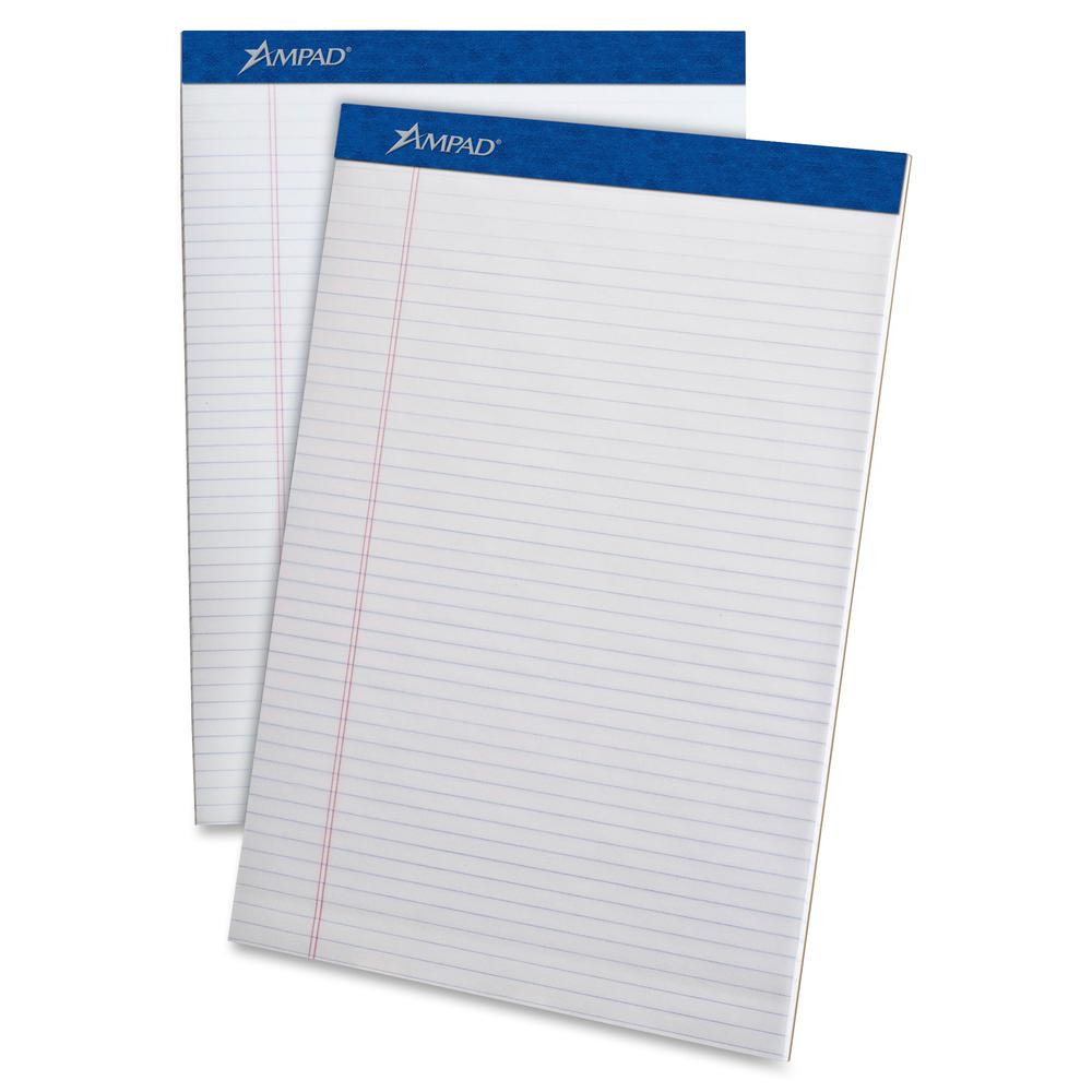 """Ampad Perforated Ruled Pads - Letter - 50 Sheets - Stapled - 0.25"""" Ruled - 20 lb Basis Weight - 8 1/2"""" x 11""""8.5""""11.8"""" - White Paper - White Cover - Sturdy Back, Header Strip, Pinhole Perforated, Chipb. Picture 2"""