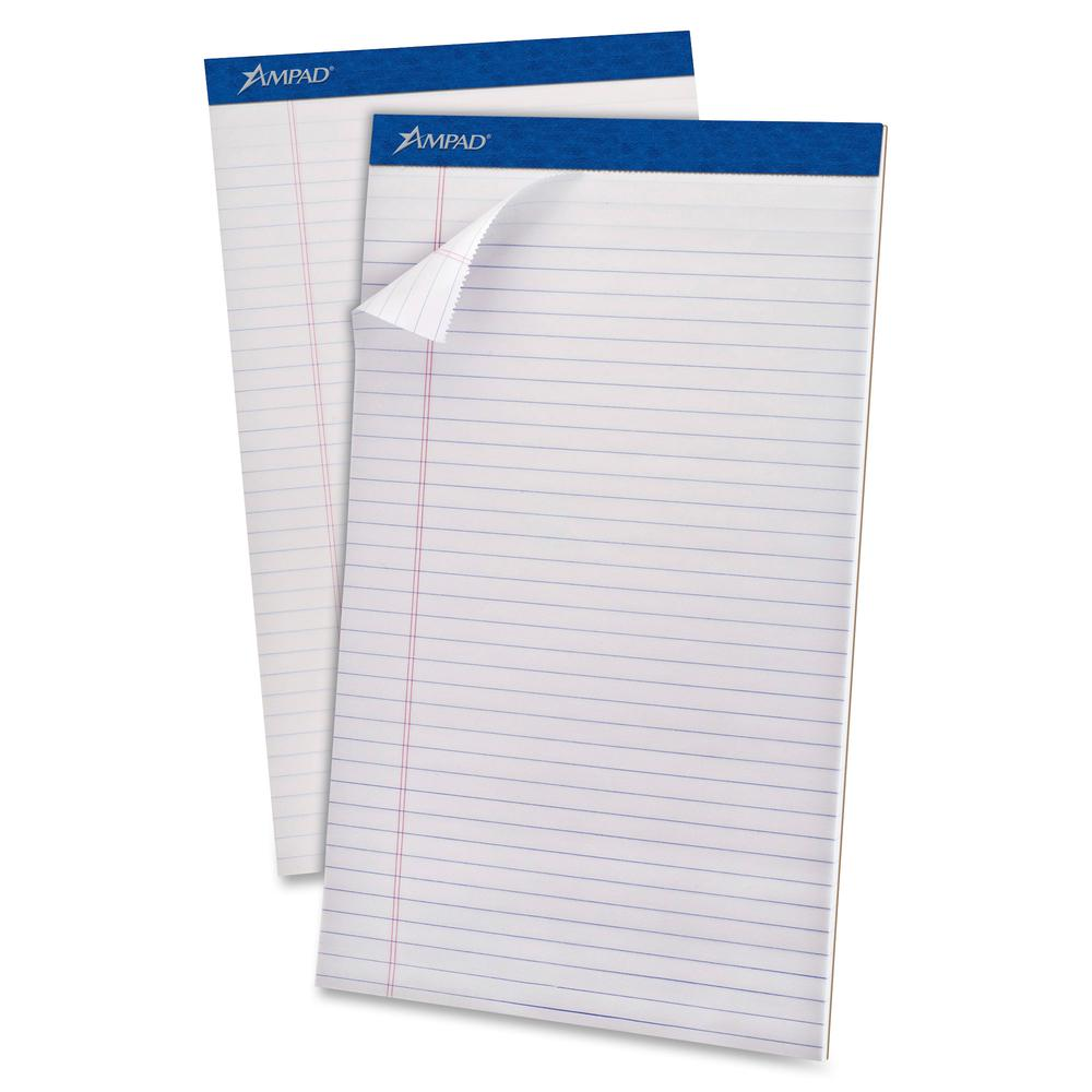 """Ampad Perforated Ruled Pads - Legal - 50 Sheets - Stapled - 0.34"""" Ruled - 20 lb Basis Weight - 8 1/2"""" x 14"""" - White Paper - White Cover - Sturdy Back, Header Strip, Pinhole Perforated, Chipboard Backi. Picture 2"""