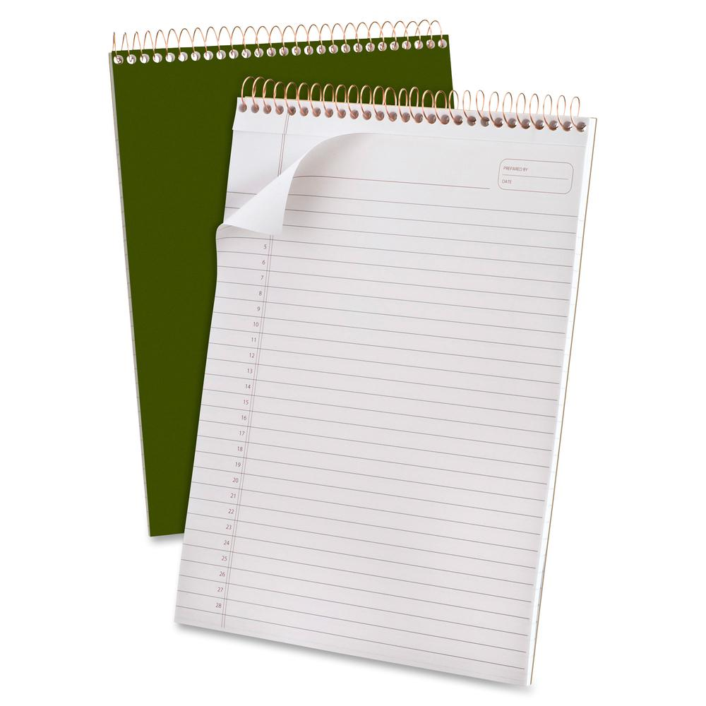 "Ampad Gold Fibre Classic Wirebound Legal Pads - 70 Sheets - Wire Bound - 0.34"" Ruled - 20 lb Basis Weight - 8 1/2"" x 11 3/4"" - White Paper - Classic Green Cover - Micro Perforated, Stiff-back, Chipboa. Picture 5"
