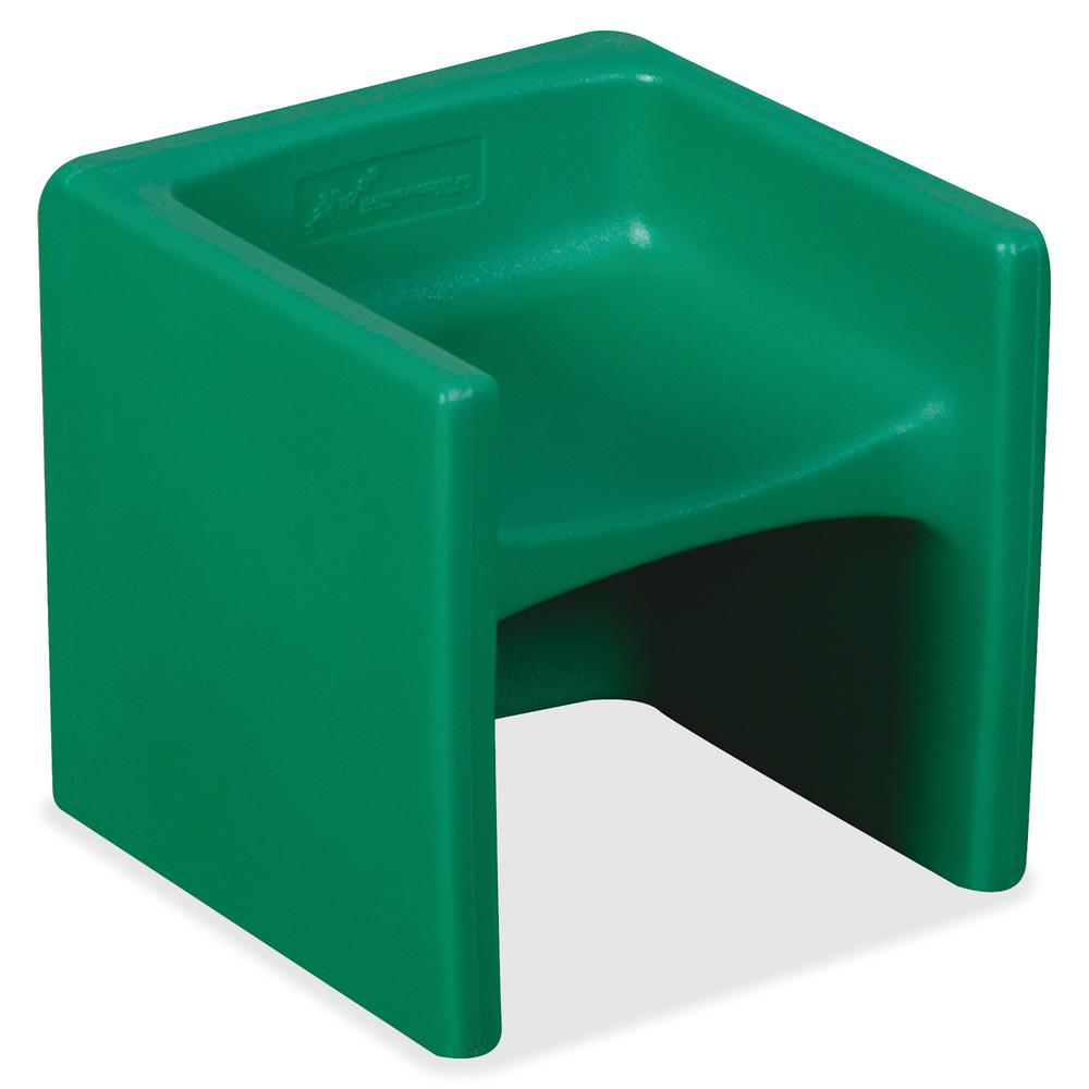 "Children's Factory Multi-use Chair Cube - Green - Polyethylene - 15"" Length x 15"" Width - 15"" Height - 1 / Each. Picture 2"