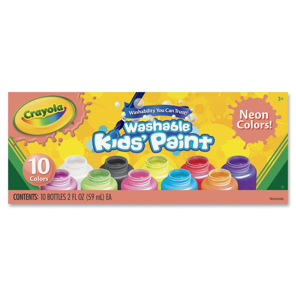 Crayola 10 Color Neon Washable Kids Paint 2 Oz 10