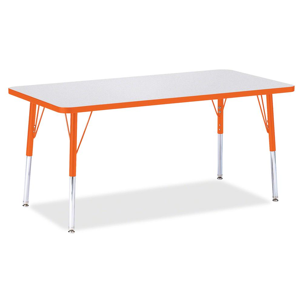 """Jonti-Craft Berries Orange Edge Rectangle Table - Rectangle Top - 60"""" Table Top Length x 30"""" Table Top Width - Assembly Required - Gray, Laminated, Powder Coated - Steel. Picture 2"""