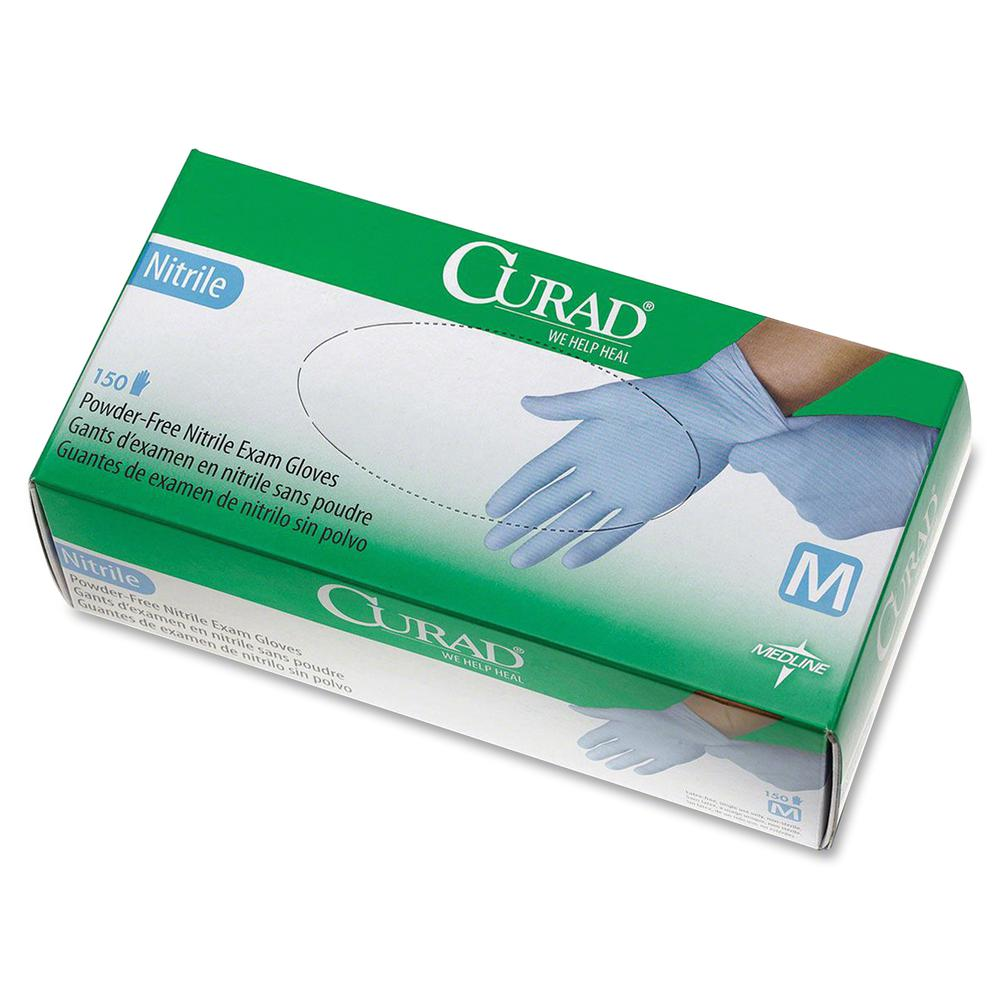 Curad Powder-free Nitrile Disposable Exam Gloves - Medium Size - Full-Textured Design - Nitrile - Blue - Powder-free, Disposable, Latex-free, Beaded Cuff, Non-sterile, Chemical Resistant - For Medical. Picture 2