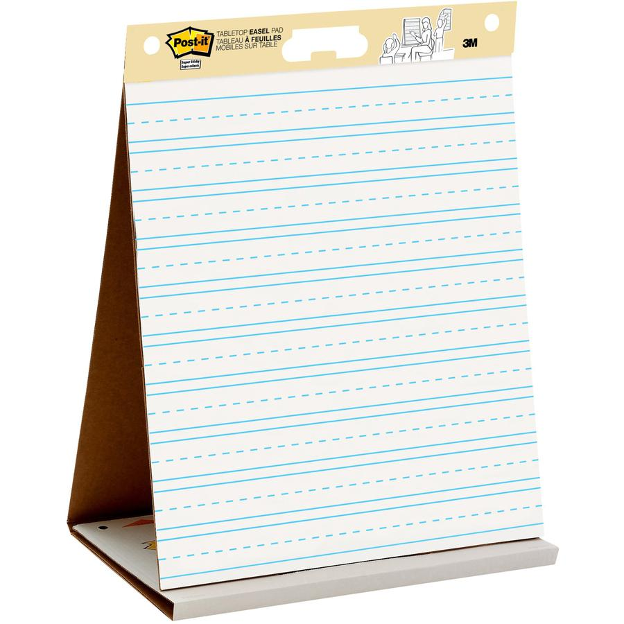 """Post-it® Tabletop Easel Pad with Primary Lines - 20 Sheets - Stapled - Primary Blue Margin - 18.50 lb Basis Weight - 20"""" x 23"""" - White Paper - Self-stick, Built-in Stand, Foldable, Bleed Resistant. Picture 2"""