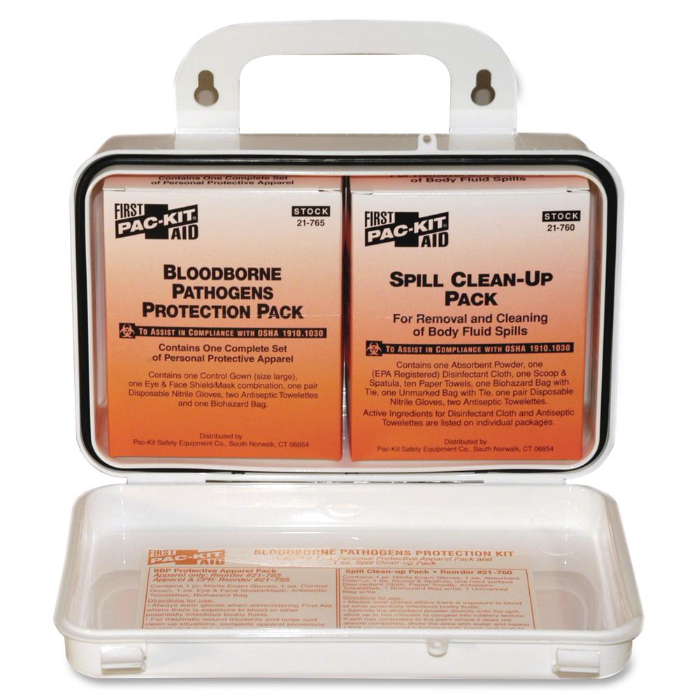"""Pac-Kit Safety Equipment Bloodborne Pathogens Kit - 27 x Piece(s) - 4.5"""" Height x 7.5"""" Width x 2.8"""" Depth Length - Plastic Case - 1 Kit. Picture 2"""