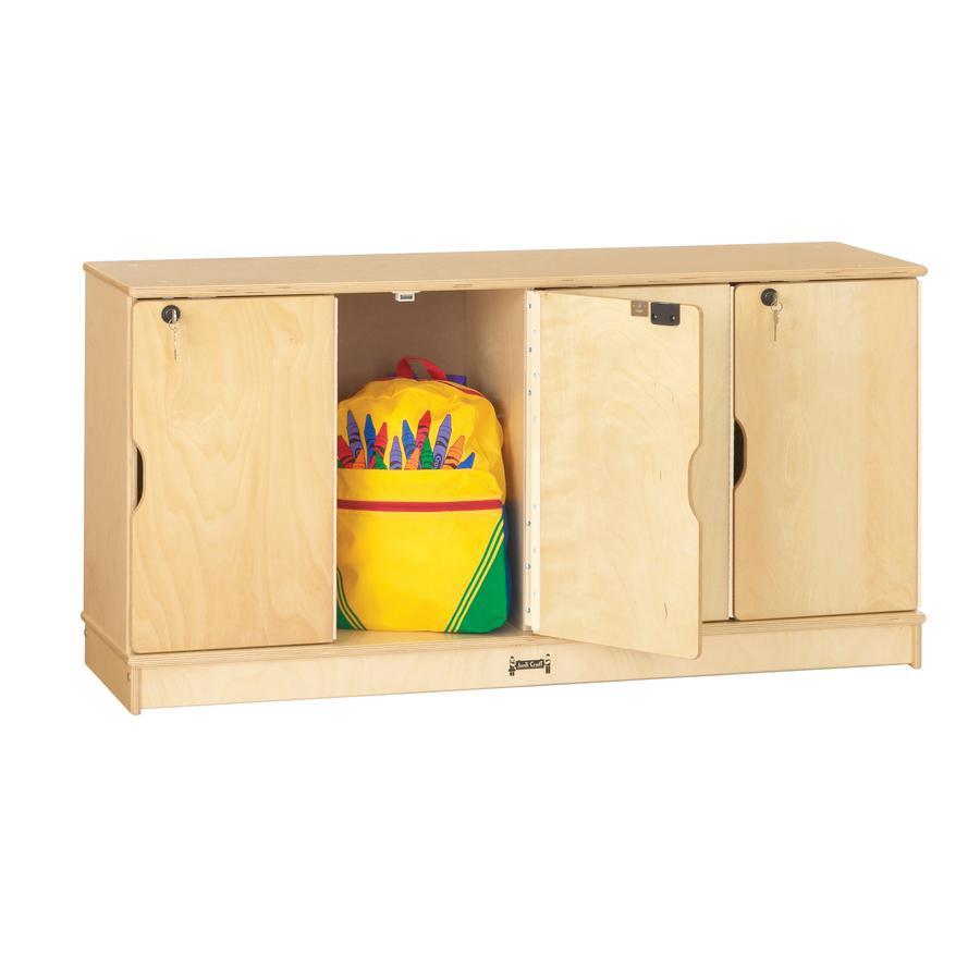"Jonti-Craft Single Stack 4-Section Student Lockers - 48.5"" x 15"" x 23.5"" - Stackable, Lockable, Sturdy, Key Lock, Kick Plate - Wood Grain - Baltic Birch Plywood. Picture 3"