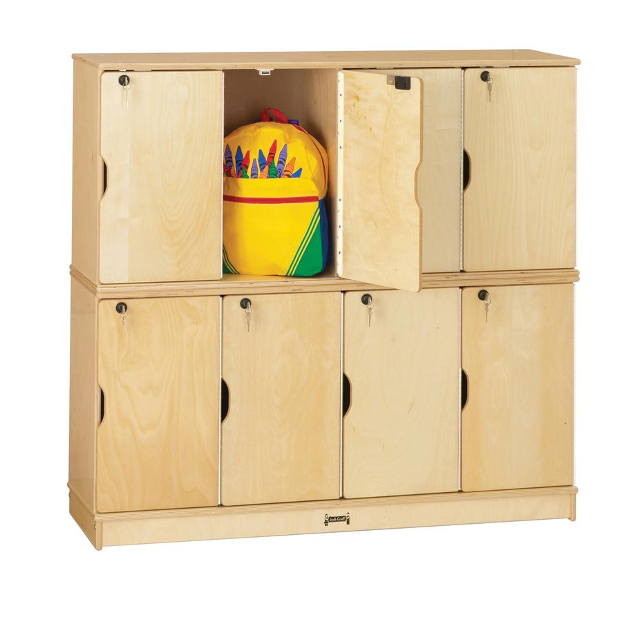 "Jonti-Craft Double Stack 8-Section Student Lockers - 48.5"" x 15"" x 45.5"" - Stackable, Lockable, Sturdy, Key Lock, Kick Plate - Wood Grain - Baltic Birch Plywood. Picture 2"