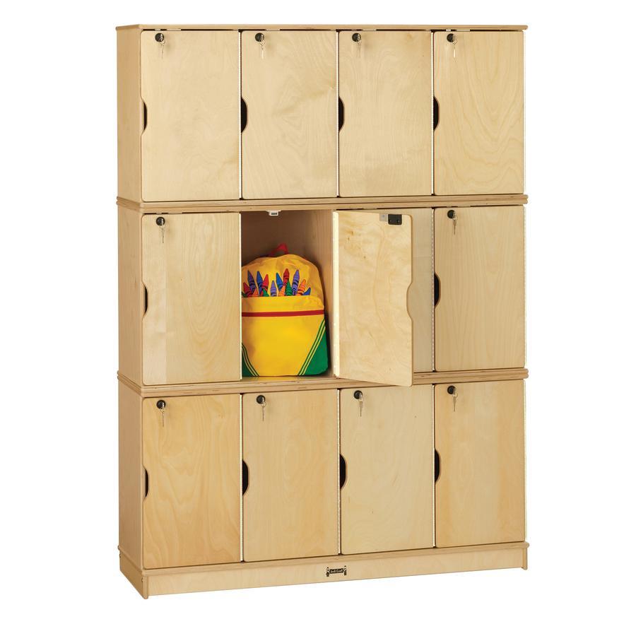 "Jonti-Craft Triple Stack Children's Stacking Lockers - 48.5"" x 15"" x 67"" - Stackable, Lockable, Sturdy, Key Lock, Kick Plate - Wood Grain - Baltic Birch Plywood. Picture 2"
