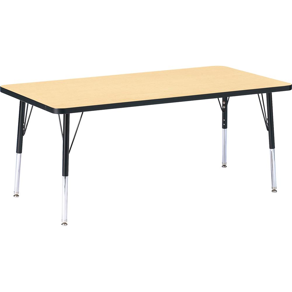 "Berries Maple Top/Edge Rectangle Table - Laminated Rectangle, Maple Top - 60"" Table Top Length x 30"" Table Top Width x 1.13"" Table Top Thickness - 24"" Height - Assembly Required - Powder Coated - Stee. Picture 2"