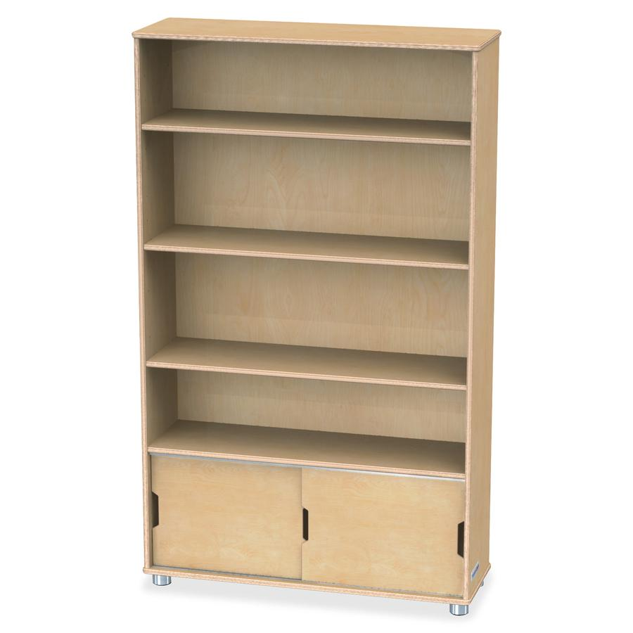 """TrueModern Bookcase Storage - 4 Compartment(s) - 60"""" Height x 36"""" Width x 12"""" Depth - Baltic - Anodized Aluminum, Birch - 1Each. Picture 2"""