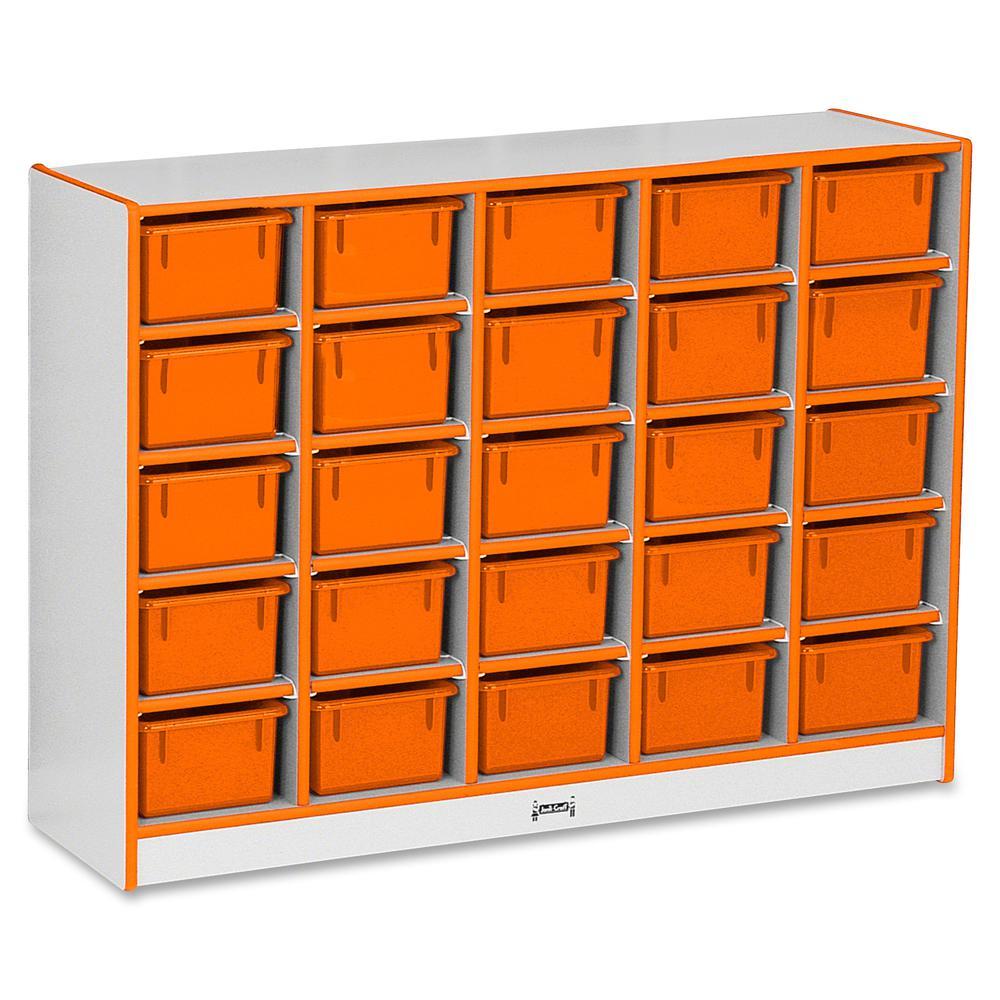 "Rainbow Accents Rainbow Accents Cubbie-trays Storage Unit - 25 Compartment(s) - 35.5"" Height x 48"" Width x 15"" Depth - Orange - Rubber - 1Each. Picture 3"