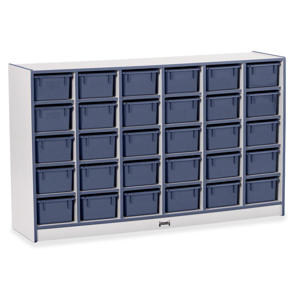 "Jonti-Craft Rainbow Accents Cubbie-trays Storage Unit - 30 Compartment(s) - 35.5"" Height x 57.5"" Width x 15"" Depth - Navy - Rubber - 1Each. Picture 4"