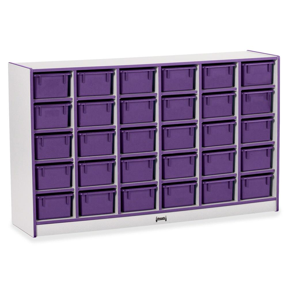 """Rainbow Accents Rainbow Accents Cubbie-trays Storage Unit - 30 Compartment(s) - 35.5"""" Height x 57.5"""" Width x 15"""" Depth - Purple - Rubber - 1Each. Picture 2"""