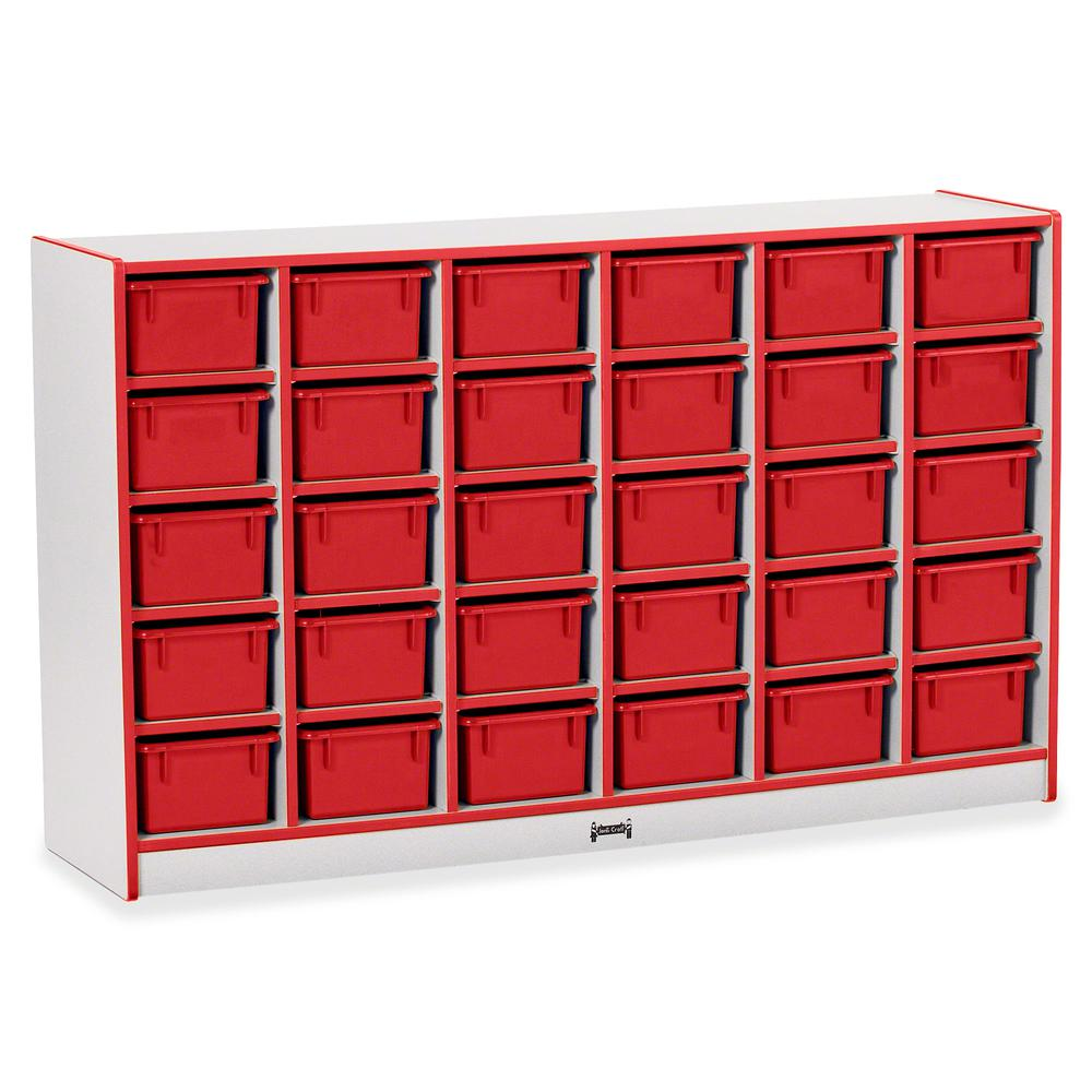 "Rainbow Accents Rainbow Accents Cubbie-trays Storage Unit - 30 Compartment(s) - 35.5"" Height x 57.5"" Width x 15"" Depth - Red - Rubber - 1Each. Picture 3"