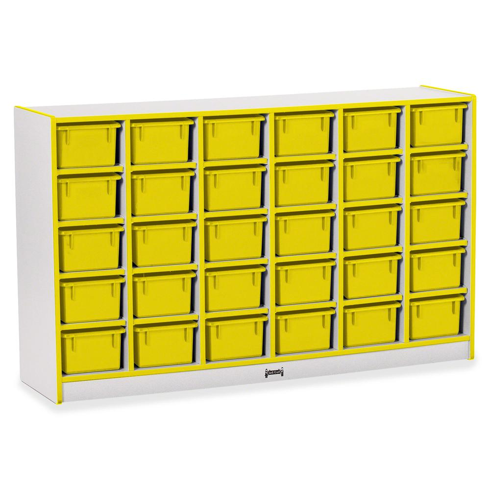 """Rainbow Accents Rainbow Accents Cubbie-trays Storage Unit - 30 Compartment(s) - 35.5"""" Height x 57.5"""" Width x 15"""" Depth - Yellow - Rubber - 1Each. Picture 2"""