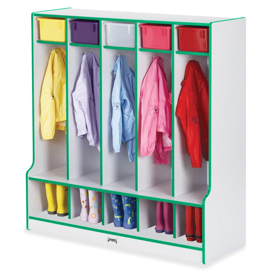 "Rainbow Accents Step 5 Section Locker - 5 Compartment(s) - 50.5"" Height x 48"" Width x 17.5"" Depth - Green - 1Each. Picture 2"