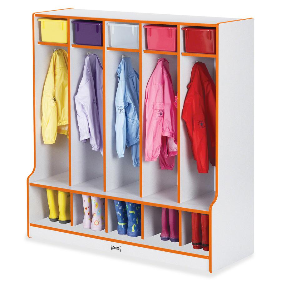 "Rainbow Accents Step 5 Section Locker - 5 Compartment(s) - 50.5"" Height x 48"" Width x 17.5"" Depth - Orange - 1Each. Picture 3"